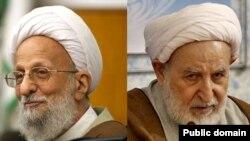 محمد یزدی، رئیس مجلس خبرگان رهبری (راست) و محمد تقی مصباح یزدی