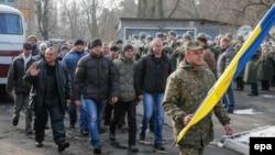 Мобілізовані йдуть маршем у Києві, 29 січня 2015 року