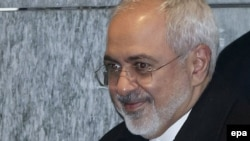 Iranian Foreign Minister Mohammad Javad Zarif leaves following a bilateral meeting with U.S. Secretary of State John Kerry in Geneva on February 23.