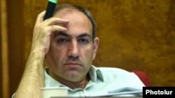Armenia - Opposition leader Nikol Pashinian attends a parliament session in Yerevan, 2Jul2015.