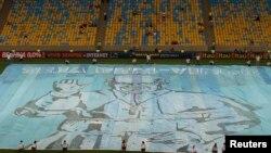 Баннер с изображением Папы Римского Франциска на стадионе Маракана в Рио-де-Жанейро. 21 июля 2013 года.