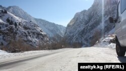 Kyrgyzstan -- Road Bishkek-Osh in winter, Jalal-Abad, 07Jan2013