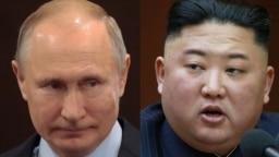 Президентът на Русия Владимир Путин и лидерът на КНДР Ким Чен Ун.