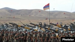 Armenia - Soldiers and tanks lined up for a military exercise, undated.