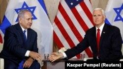Mike Pence și Benjamin Netanyahu la Varșovia