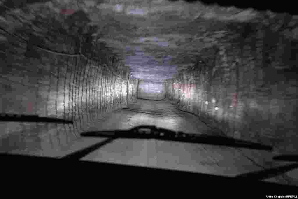 """A transport tunnel inside the mine. The vast salt seam under the town of Soledar, meaning """"gift of salt,"""" was formed after an ancient sea in the region dried up."""