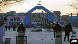 Police had cordoned off a central square in the city of Zhanaozen, in the western Kazakh province of Mangistau, on December 18.
