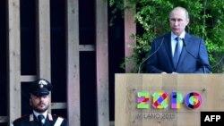 Ресей президенті Владимир Путин Expo Milan 2015 халықаралық көрмесінде сөйлеп тұр. Италия, 10 маусым 2015 жыл.