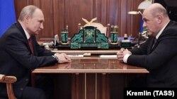 Ռուսաստանի նախագահ Վլադիմիր Պուտինը Կրեմլում ընդունել է Դաշնային հարկային ծառայության ղեկավար Միխայիլ Միշուստինին, Մոսկվա, 15-ը հունվարի, 2020թ.