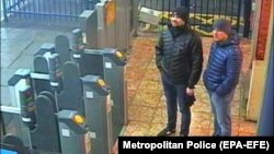 The two suspects, Aleksandr Petrov (right) and Ruslan Boshirov, were captured in Salisbury train station on March 3 in this CCTV image.