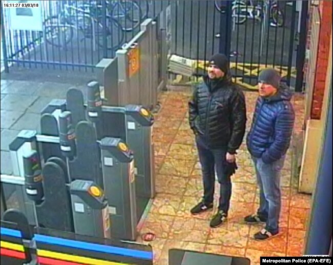 A photo released by the British police showing two men named as Aleksandr Petrov (right) and Ruslan Boshirov who are suspected of being GRU agents involved in the poisoning of Russian ex-spy Sergei Skripal.