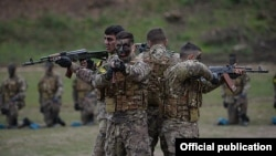 Nagorno-Karabakh - Karabakh Armenian special forces train as part of larges-scale military exercises, 13Nov2014.