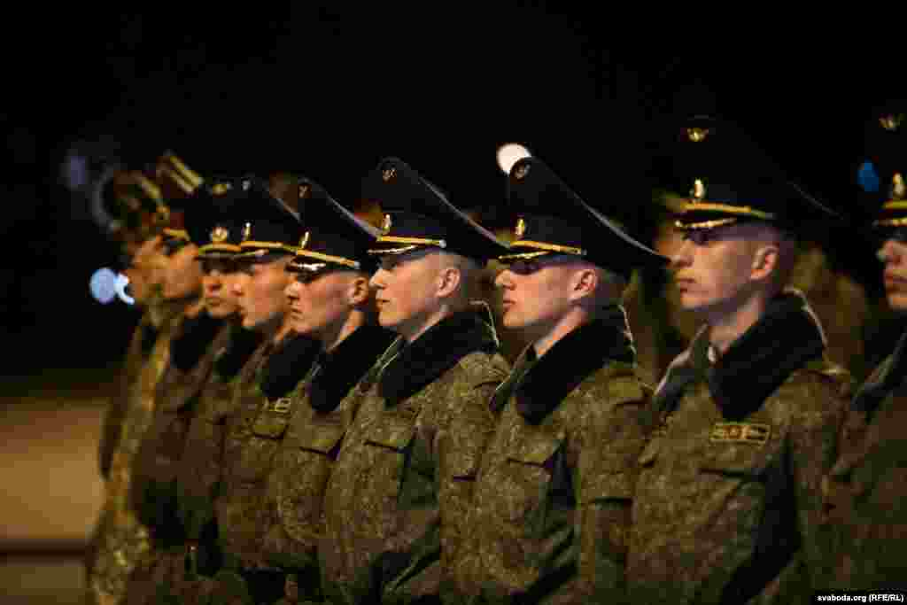 Soldiers stand in a line during the Victory Day parade rehearsal on April 6.The final rehearsals will take place in Minsk on May 5 and May 7.