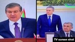 Президент Шавкат Мирзиёев (чапда) ва мажлисда тик туриб, танқид эшитган собиқ Молия вазири Рустам Азимов