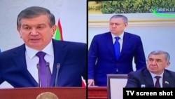 Президент Узбекистана Шавкат Мирзияев (слева) и Рустам Азимов (в центре). Фотоколлаж.