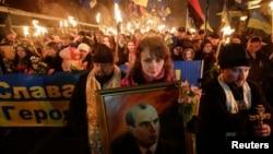 "Активисты партии ""Свобода"" отмечают 105-летие Степана Бандеры. Киев, 1 января 2014 года."