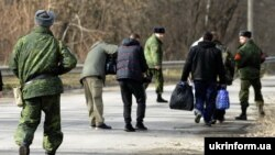 A file photo of a prisoner exchange between Ukraine and Russia-backed separatists in 2016.