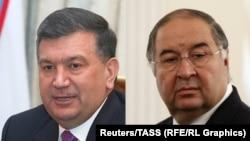 Президент Узбекистана Шавкат Мирзияев (слева) и российский олигарх узбекского происхождения Алишер Усманов.