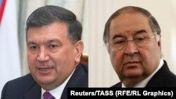 Uzbek President Shavkat Mirziyoev (left) and Uzbek-born Russian oligarch Alisher Usmanov (composite file photo)