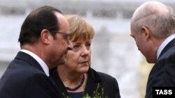 Франсуа Алянд, Ангела Мэркель, Аляксандар Лукашэнка. Менск, 11.02.2015