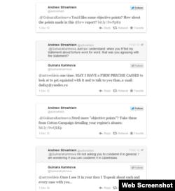 Твиттер-диаолог между Гульнарой Каримовой и Эндрю Штройляйном. 1 декабря 2012 года.