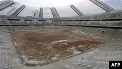 A stadium under construction in Donetsk