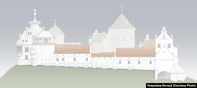 Вид замка со стороны реки Городничанки (третья очередь), вариант Владимир Бочкова