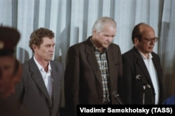 Виктор Брюханов, Николай Фомин и Анатолий Дятлов во время оглашения приговора