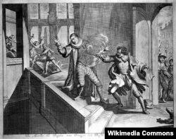 Oranlı Vilhelm Balthasar Gerard tərəfindən yaxın məsafədən atış açmaqla öldürülür, 10 iyul 1584