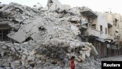 Pamje e shkatërrimeve nga lufta në rajonin e Idlibit në Siri