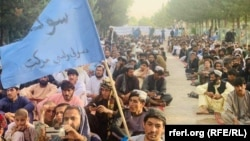 FILE: A People's Peace Movement protest in the southern province of Helmand in July.