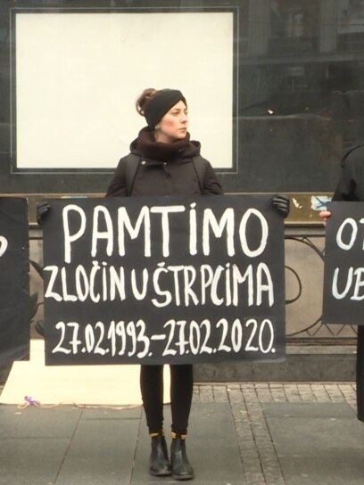 Non-governmental activists in downtown Belgrade, Serbia, commemorating a 27 years since the war crime committed in Štrpci, Bosnia and Herzegovina. Screenshot from video 27.02.2020.