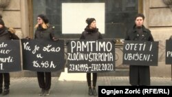 Activists in downtown Belgrade commemorating the 1993 killings.