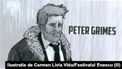 Ilustrație de Carmen Livia Vidu la Peter Grimes, pentru Festivalul Enescu