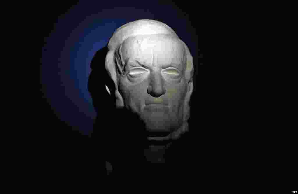A bust of Richard Wagner is on display at a new permanent exhibit on the composer in his hometown of Leipzig, Germany.