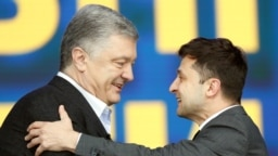 Ukrainian President Petro Poroshenko at a debate with his rival, comedian Volodymyr Zelenskiy, at Olimpiyskiy Stadium in Kyiv on April 19.