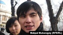 Студенттердің тәуелсіз кәсіподағының жетекшісі Ринат Кибраев. Алматы, 11 қаңтар 2011 жыл.