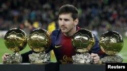 لیونل مسی، فوتبالیست عضو بارسلونای اسپانیا و تیم ملی آرژانتین.