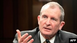 U.S. National Intelligence Director Dennis Blair testifies during a hearing before the Senate Select Intelligence Committee on February 2.
