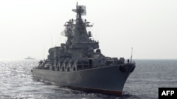 The Russian missile cruiser Moskva patrols in the Mediterranean Sea off the coast of Syria in December 2015.