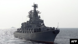 Російський крейсер «Москва» в Середземному морі, архівне фото, 2015 рік