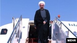 Iranian President Hassan Rohani arrives in Khuzestan on January 14.