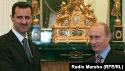 Сирийский президент Башар Асад (слева) и президент России Владимир Путин.