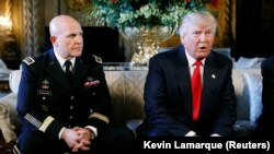 U.S. President Donald Trump (right) announces his new national security adviser, H.R. McMaster, at his Mar-a-Lago estate in Palm Beach, Florida, on February 20.