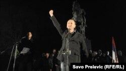 Milan Knežević tokom protesta u Podgorica u decmbru 2015.