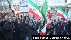 Demonstrators rally in support of Iranian antigovernment protests in Stockholm, Sweden, over the weekend.