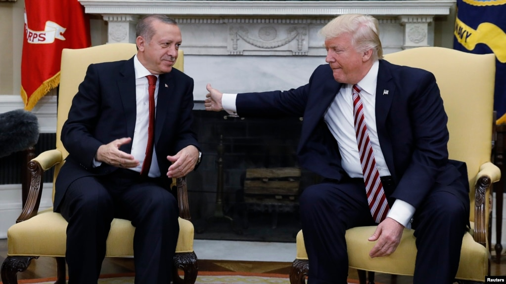 Turkish President Recep Tayyip Erdogan (left) meets with U.S President Donald Trump in the Oval Office of the White House in Washington, D.C., on May 16.