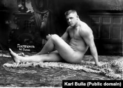 Wrestler Karl Pospischil posing in Bulla's studio.