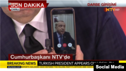 President Recep Tayyip Erdogan speaking to the country via FaceTime on an iPhone during the coup attempt.