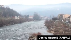 Serbia-- The river Lim,pollution, Prijepolje, 10 January, 2019.